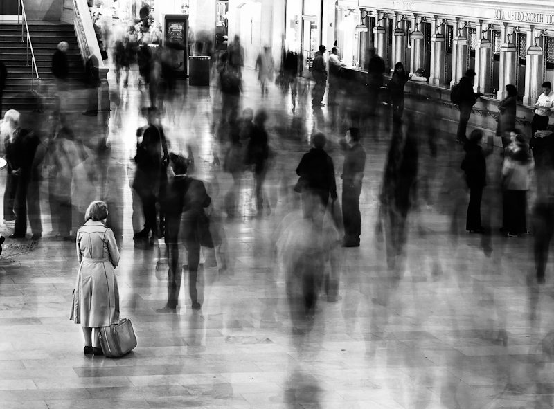 2 waiting in grand central Black and White or Color in Street Photography: How Do You Make the Decision?