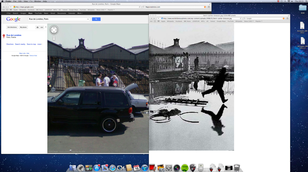 hcb then now Henri Cartier Bresson Behind the Gare Saint Lazare 1932 vs Google Maps 2008