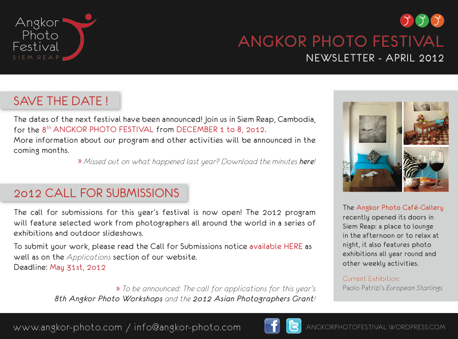 Newsletter April2012 Eng Call for Submissions: 2012 Angkor Photo Festival in Siem Reap