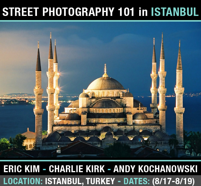 ISTANBUL workshop banner Escape to the Colorful and Exotic Streets of Istanbul: Street Photography 101 Workshop with Eric Kim, Charlie Kirk, and Andrew Kochanowski
