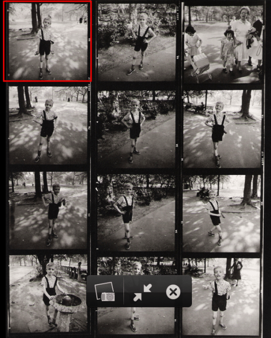 diane arbus kid grenade contact red 538x670 How Studying Contact Sheets Can Make You a Better Street Photographer