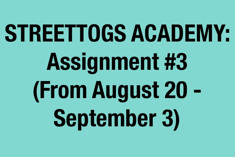 3rd Assignment Streettogs Academy Assignment No. 3